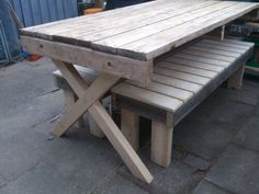 Table and benches out of pallet wood.