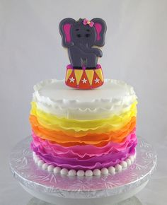 6 inch Rainbow Ruffle Ombre Cake (Circus Themed Party) with cookie topper - $60.00