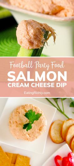 Mix canned salmon or leftover salmon with cream cheese, liquid smoke, minced onion, and lemon juice for a delicious smoked salmon dip recipe that's easy on the budget. It's the perfect Super Bowl Party Food! #appetizer #appetizerrecipes #recipe #dinnertonight #dinnerrecipes #seahawks #footballfood #footballparty #tailgating #superbowlfood #superbowlsnacks #gameday #gamedayfood #gamedaysnacks #footballpartyfood #dip #dips #diprecipes #healthydips #salmondip #seafooddip #seafoodrecipes #keto
