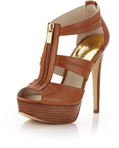 MICHAEL Michael Kors | Brown Berkley Leather Tstrap Sandal