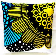 Marimekko Throw Pillow Cover in bright colors - Finnish Designer Fabric, No 11 (Different front & back)
