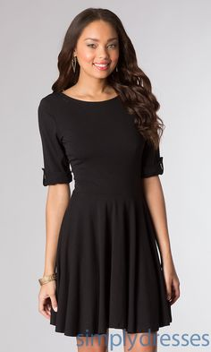 Casual Black Dress with Sleeves