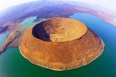 Nabiyotum Crater, in Lake Turkana, Kenya, is the world's largest desert lake as…