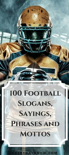 100 Football Slogans, Sayings, Phrases and Mottos American Football 100 Football Slogans, Sayings, Phrases and Mottos Team Mom Football, Football Banquet, Football Spirit, Football Mom Shirts, School Football, Football Stuff, Football Season, Senior Football Gifts, Youth Football Drills