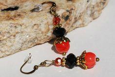 Orange Black Earrings Antique Brass Halloween by ornatetreasures, $14.50