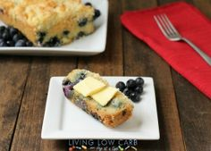 Blueberry Coffee Cake (Primal and Paleo Friendly) - The fresh blueberries pair perfectly with the buttery cake and crumb topping. This recipe would be great for a weekend brunch or maybe even turn it into french toast by baking the bread without the crumb topping, slice it, dip it into an egg batter for french toast and sear both sides.  5.5 net carbs  per slice