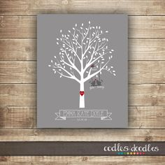 Family Tree Nursery Art, Personalized Family Tree, New Baby Gift, New Baby, Nursery Decorations, Printable Nursery Art, Tree, Birds by OandD on Etsy
