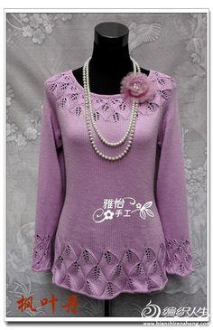 пуловер листиками со схемами