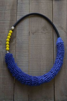 Long black necklace with neon yellow and blue by PROPSfashion, €50.00 #etsy #necklace #fashionstatement