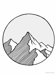 "'Mountains Sketch' Sticker by smalltownnc - Yelena Kleshchik - 'Mountains Sketch' Sticker by smalltownnc ""Mountains Sketch"" by smalltownnc Cute Easy Drawings, Mini Drawings, Art Drawings Sketches Simple, Pencil Art Drawings, Doodle Drawings, Easy Drawing Designs, Tattoo Sketches, Tattoo Drawings, Easy Doodle Art"