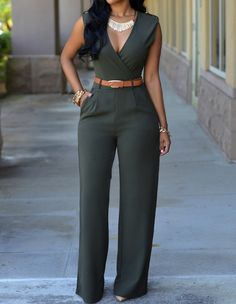 Elegant Green Belted Sleeveless Wide Leg Casual V Neck Jumpsuit