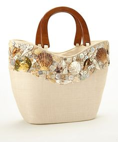 Take a look at this Beige Seashell Studded Large Tote by Dennis East International on #zulily today! $45