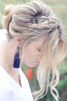 The Messy Rope Braids and Low Bun