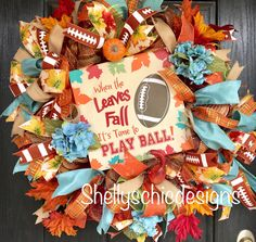 Updates from ShellysChicDesigns on Etsy Fall Mesh Wreaths, Fall Deco Mesh, Diy Fall Wreath, Deco Mesh Wreaths, Wreaths For Front Door, Wreath Ideas, Autumn Wreaths, Holiday Wreaths, Football Wreath