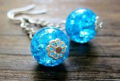 Blue Plasma - náušnice Christmas Bulbs, Holiday Decor, Blue, Christmas Light Bulbs