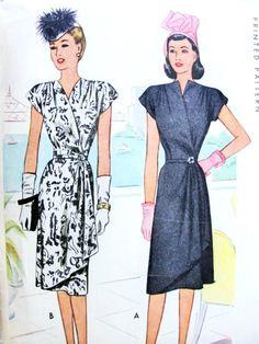 1940s Stunning Wrap Dress Pattern McCall 6440 Film Noir Cocktail Evening Wrap Around Dress Surplice Neckline Flirty Cascade Side Drape Bust 40 Vintage Sewing Pattern FACTORY FOLDED 55