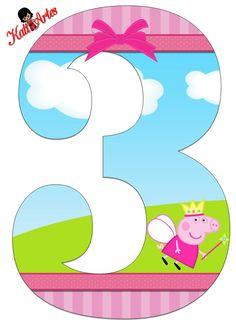 > Eugenia Katia Artes: Peppa and George Personalized Numbers Third Birthday, 3rd Birthday Parties, Birthday Party Decorations, Pig Party, Baby Party, Peppa E George, Peppa Big, Cumple Peppa Pig, Peppa Pig Birthday Cake