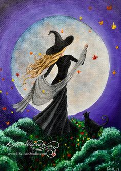 Halloween Witch black cats in the moonlight autumn breeze by KyraWilson