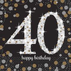 Zestaw 16 dwuwarstwowych serwetek dekoracyjnych z nadrukiem 40. Doskonała dekoracja na imprezę z okazji 40-tych urodzin.