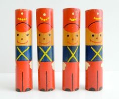 """toy-soldiers made from 6"""" wooden dowels"""