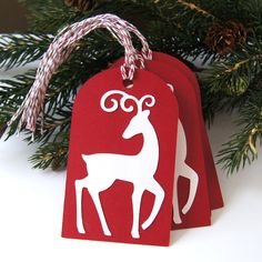 Reindeer Christmas Tags or Package Labels  Cream on by scrapbits. , via Etsy.