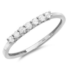 Carat (ctw) Gold Diamond Ladies 7 Stone Anniversary Wedding Band Stackable Ring CT * Engagement Rings And Wedding Bands Diamond Wedding Rings, Diamond Bands, Wedding Ring Bands, Wedding Jewelry, Heart Engagement Rings, Yellow Engagement Rings, White Gold Diamonds, Round Diamonds, Rose Gold