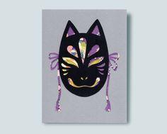 Kitsune Mask Paper Collage Metallic Paper, Gold Paper, Kitsune Mask, Lapel Pins, Washi, Batman, Collage, Superhero, Handmade Gifts
