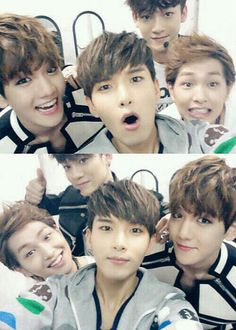 EXO's Baekhyun & Chen with Super Junior's Ryeowook and SHINee's Onew :]