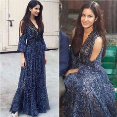 Katrina Kaif wearing long blur dress by Rebecca Taylor Newyork City for her movie Fitoor Promotions