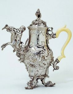 Coffee Pot, 1749/50. H: 28.3cm x 26.0cm, James Shruder (active 1737-1749). Victoria & Albert Museum.