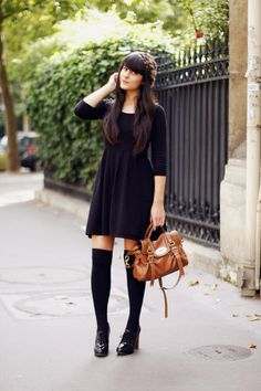 so cute. black skater dress, black knee high socks, oxford heels and a brown bag.