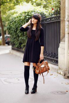 so cute. black skater dress, black knee high socks, oxford heels and a brown bag.