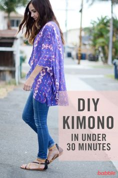 Kimono tops are the perfect light layer that gives your outfit a more complete look without causing you to overheat. Although they look complicated to make, they're actually super easy! We're sharing a tutorial so you can make one in less than 30 minutes. A couple of cuts, a few seams, and you're done. We used a super lightweight cotton jersey blend fabric. And since knits don't fray, no hemming necessary! Try this easy clothing tutorial and make yourself one of these cool DIY Kimonos.