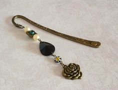 Black gothic rose bronze bookmark steampunk gift women green