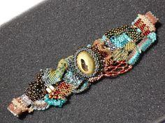 My FreeForm Peyote Bracelet with Titanium Druzy Cab Focal