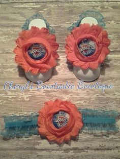 Sports Barefoot sandal sets with matching headbands. Available in many themes by CherylsBowtasticBows