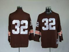 Mitchell and Ness Cleveland Browns 32 Jim Brown Brown Stitched Throwback NFL Jersey:$21