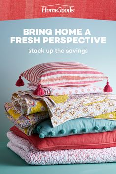 Refresh for 2021 with easy home décor updates at HomeGoods! From fresh bedding to cozy blankets and pillows that pop, instantly give any room a makeover. Mix and match colorful patterns and bold hues for a look that's all your own. Head in to HomeGoods and #GoFinding! Home Decor Furniture, Home Decor Bedroom, Diy Home Decor, Sewing Room Decor, Linen Bedroom, Diy Kitchen Storage, Small Quilts, Cozy Blankets, Sofa Covers