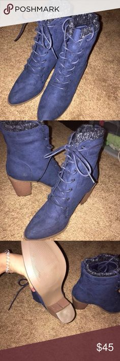 Cuffed lace up boot/heel Lace up heels. Never worn. Couldn't pull them off. Super cute not my style Shoes Heels