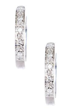 14K White Gold Diamond Hoop Earrings - 0.05 ctw