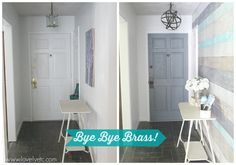 Small changes make an enormous change in this small foyer - a painted front door, new hardware, an upcycled light, and a DIY plank wall. It's like a whole new room!