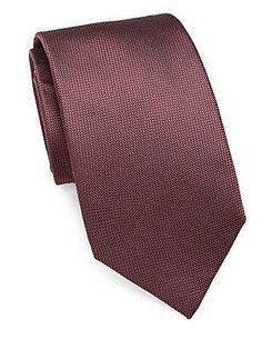 Pal Zileri Solid Textured Silk Tie - Brown - Size No Size