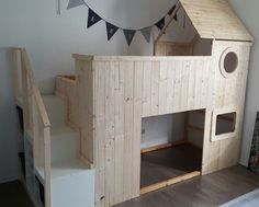 KEA BEDS HACKS: Great with bookcase built under stairs and play-house under bed.