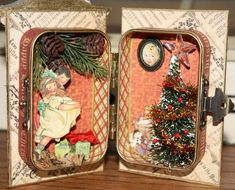 The inside of @Nancy Wethington of our 2011 Design Team's Christmas Altered Altoid Tin! Such great detail in such a tiny space! So cute! #graphic45