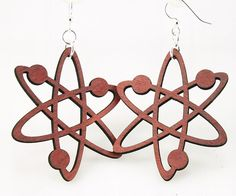Atom Structure Earrings made from Laser Cut Wood.