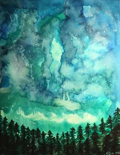 Galaxy trees, ecoline Talens, of March, Made by Elise MB March Bullet Journal, Arts And Crafts For Adults, Watercolor Sketch, Brush Pen, Art Plastique, Diy Projects To Try, Pattern Art, Art Inspo, Painting & Drawing
