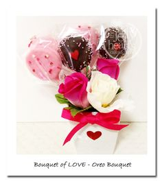 Oreo Pop Bouquet for Valetine's Day Jelly Hearts, Oreo Pops, Chinese New Year, Valentines Day, Food Ideas, Bouquet, Gift Wrapping, Cake, Ethnic Recipes