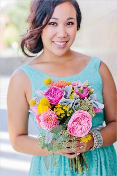pink and yellow bridesmaid bouquet by Bash Please