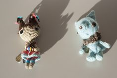 Poseable fiber art sculptures, with vintage button detailing, by Lisa Inez