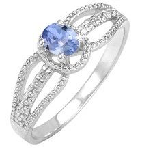 1/2 Carat Oval Tanzanite Three Row Sterling Silver Ring